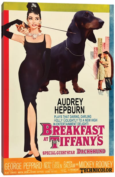 Dachshund Breakfast At Tiffany Canvas Art Print