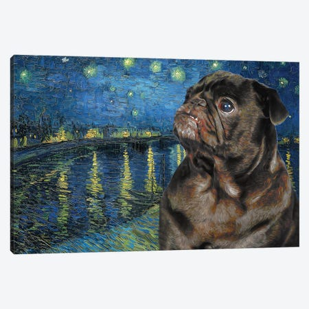 Pug Starry Night Over The Rhone Canvas Print #NDG302} by Nobility Dogs Art Print