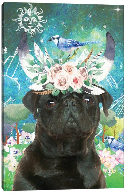 Black Pug Once Upon A Time Canvas Art Print