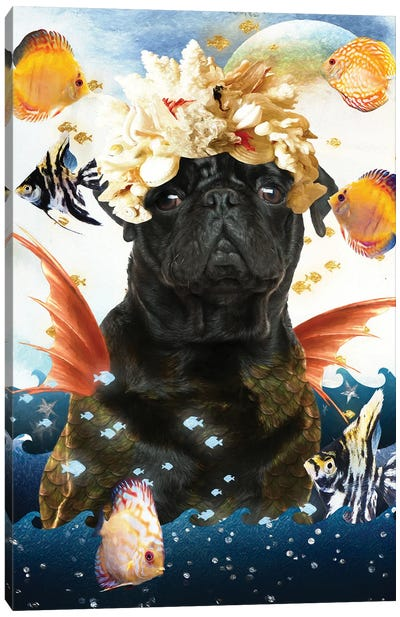 Black Pug Mermaid Canvas Art Print