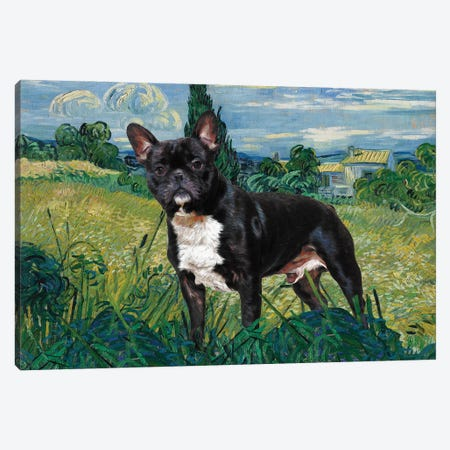French Bulldog Green Wheat Field With Cypress Canvas Print #NDG312} by Nobility Dogs Canvas Artwork