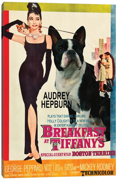 Boston Terrier Breakfast At Tiffany Canvas Art Print