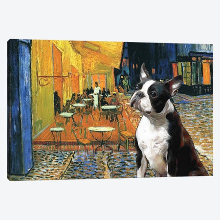 Boston Terrier Cafe Terrace At Night Canvas Print #NDG326} by Nobility Dogs Canvas Artwork