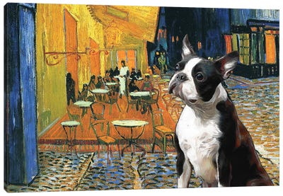 Boston Terrier Cafe Terrace At Night Canvas Art Print