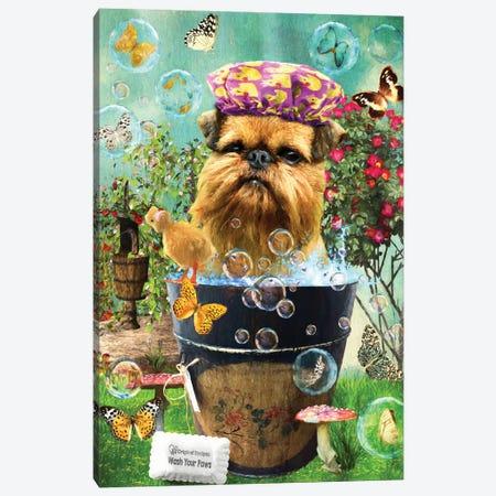 Brussels Griffon Wash Your Paws Canvas Print #NDG329} by Nobility Dogs Art Print