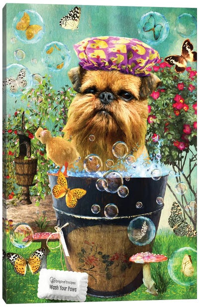 Brussels Griffon Wash Your Paws Canvas Art Print