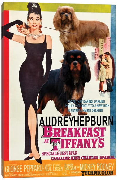 Cavalier King Charles Spaniel Breakfast At Tiffany Canvas Art Print