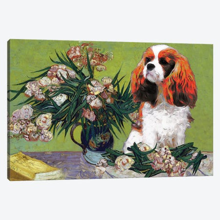 Cavalier King Charles Spaniel Vase With Oleanders Canvas Print #NDG33} by Nobility Dogs Art Print
