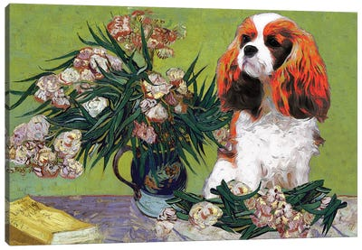 Cavalier King Charles Spaniel Vase With Oleanders Canvas Art Print