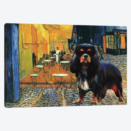 Cavalier King Charles Spaniel Cafe Terrace At Night Canvas Print #NDG341} by Nobility Dogs Art Print