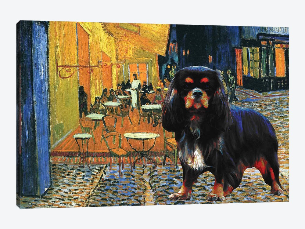 Cavalier King Charles Spaniel Cafe Terrace At Night by Nobility Dogs 1-piece Canvas Art Print