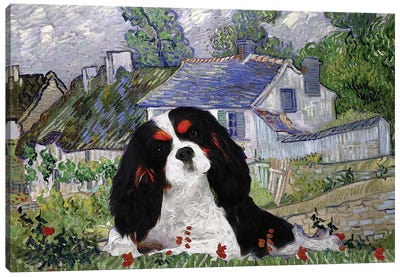 Cavalier King Charles Spaniel Houses At Auvers Canvas Art Print
