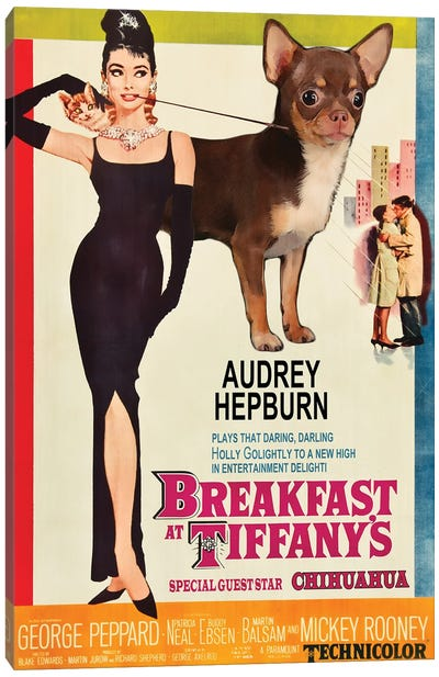 Choco Chihuahua Breakfast At Tiffany Canvas Art Print