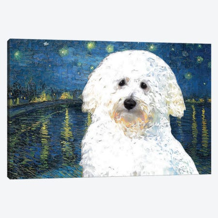 Coton De Tulear Starry Night Over The Rhone Canvas Print #NDG373} by Nobility Dogs Canvas Art
