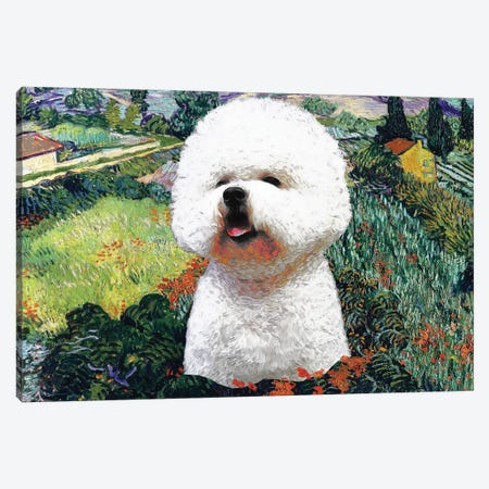 Bichon Frise Field With Poppies Canvas Print #NDG382} by Nobility Dogs Canvas Art Print