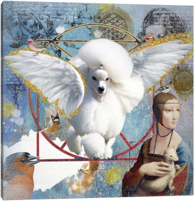 White Poodle Angel Canvas Art Print