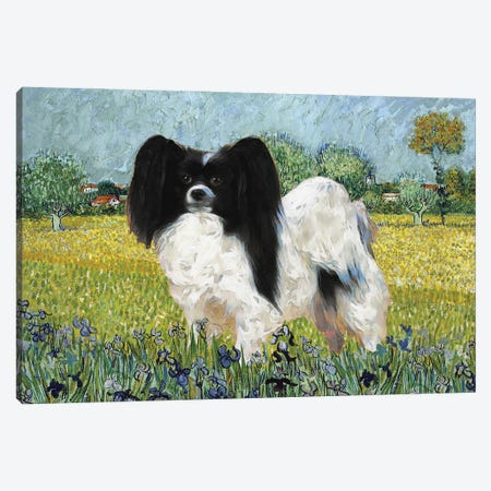 Papillon Dog View Of Arles With Irises Canvas Print #NDG398} by Nobility Dogs Canvas Wall Art
