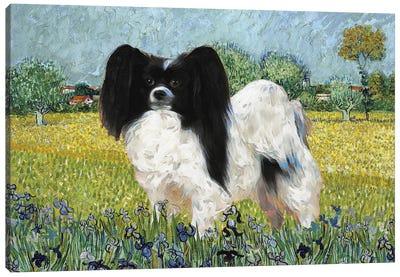 Papillon Dog View Of Arles With Irises Canvas Art Print