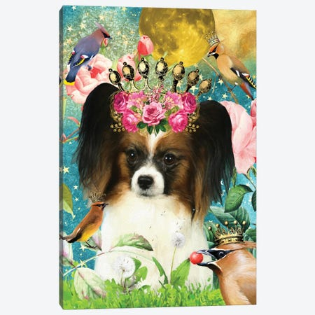 Papillon Dog And Waxwing Canvas Print #NDG401} by Nobility Dogs Canvas Wall Art