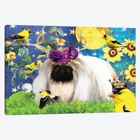 Pekingese And American Goldfinch Canvas Print #NDG402} by Nobility Dogs Canvas Artwork