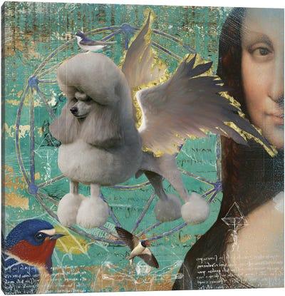 Grey Poodle Angel Da Vinci Canvas Art Print