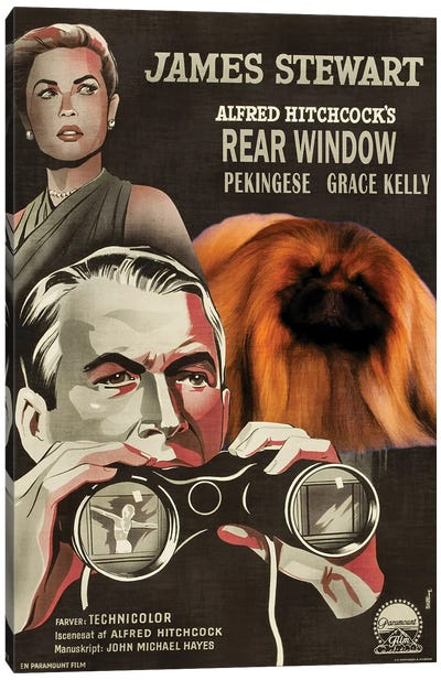 Pekingese Rear Window Movie Canvas Art Print