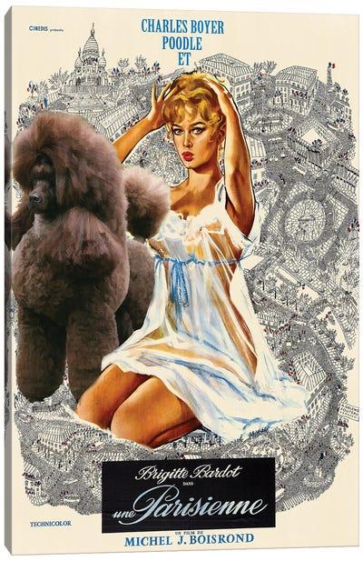 Poodle Una Parisienne Movie Canvas Art Print