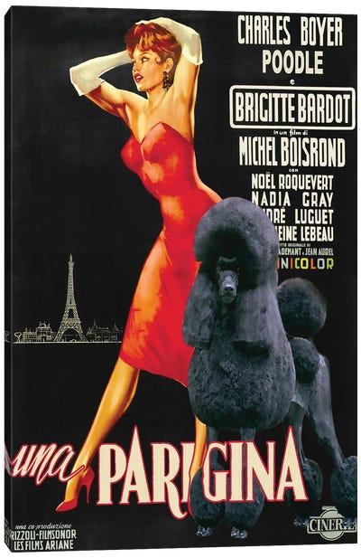 Black Poodle Una Parigina Movie Canvas Art Print