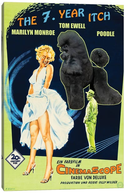 Black Poodle The Seven Year Itch Movie Canvas Art Print