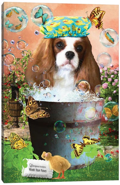 Cavalier King Charles Spaniel Wash Your Paws Canvas Art Print