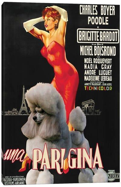 Grey Poodle Una Parigina Movie Canvas Art Print
