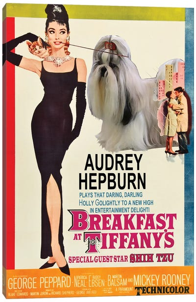 Shih Tzu Breakfast At Tiffany Movie Canvas Art Print