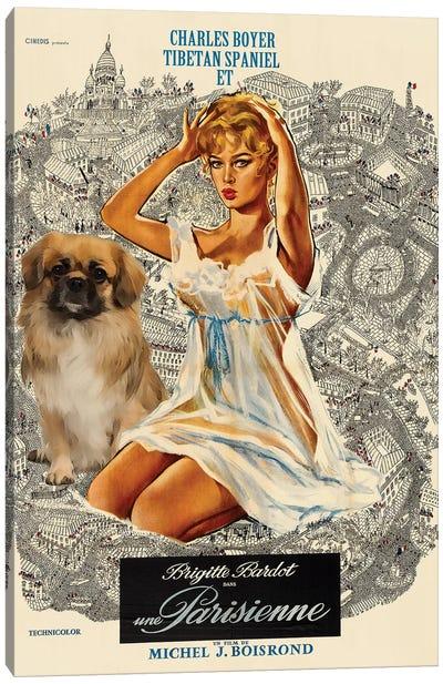 Tibetan Spaniel Una Parisienne Movie Canvas Art Print