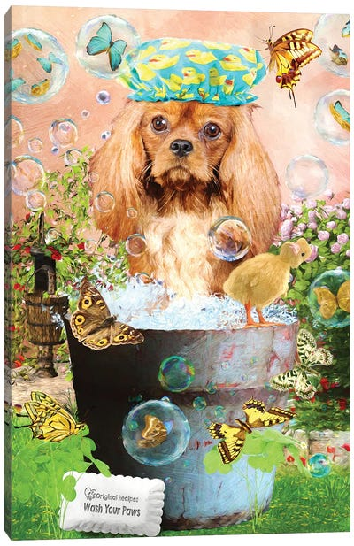 Ruby Cavalier King Charles Spaniel Wash Your Paws Canvas Art Print
