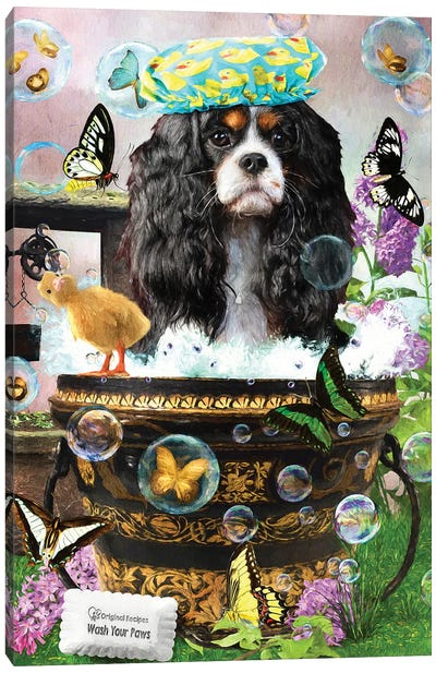 Tri Color Cavalier King Charles Spaniel Wash Your Paws Canvas Art Print