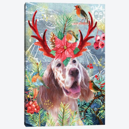 English Setter And Robin Bird Canvas Print #NDG450} by Nobility Dogs Art Print