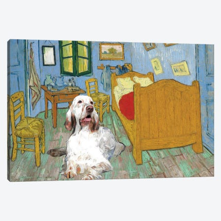 English Setter The Bedroom Canvas Print #NDG466} by Nobility Dogs Art Print