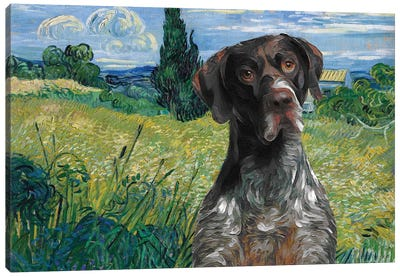 German Shorthaired Pointer Wheat Field With Cypress Canvas Art Print