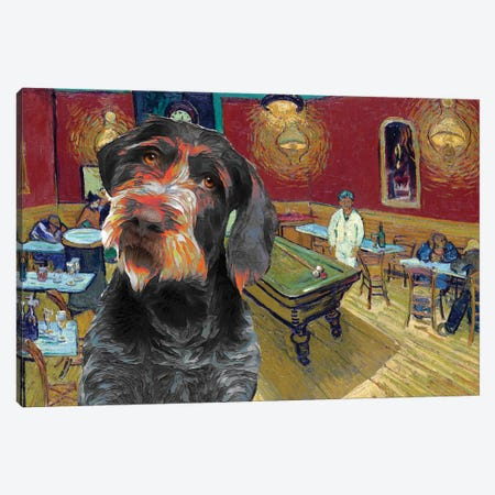 German Wirehaired Pointer The Night Café Canvas Print #NDG469} by Nobility Dogs Canvas Art