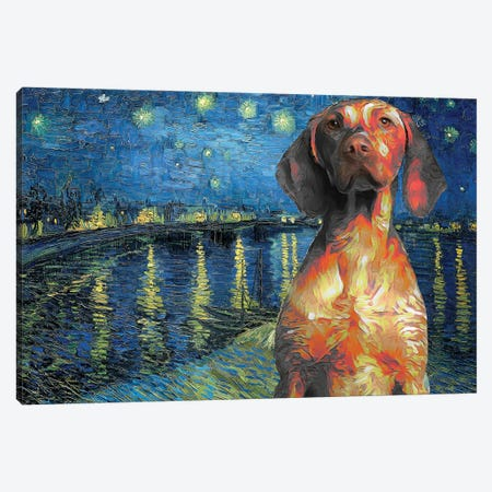 Vizsla Starry Night Over The Rhone Canvas Print #NDG472} by Nobility Dogs Canvas Art Print