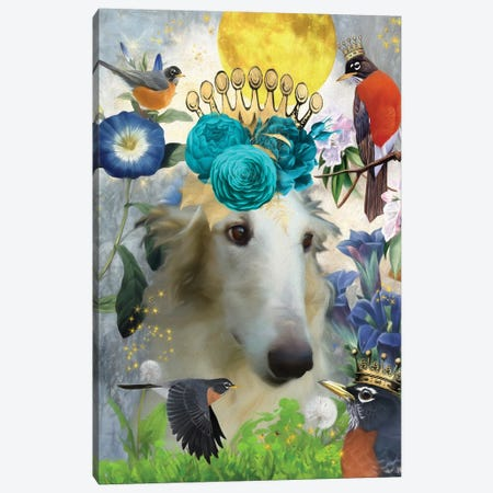 Borzoi And American Robin Canvas Print #NDG486} by Nobility Dogs Canvas Print