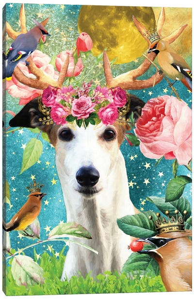Greyhound And Waxwing Canvas Art Print