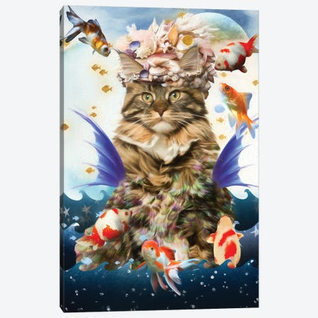 Maine Coon Cat Mermaid And Goldfish Canvas Print #NDG495} by Nobility Dogs Canvas Wall Art