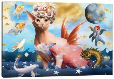 Sphynx Cat Mermaid Canvas Art Print