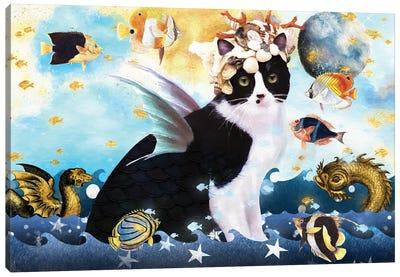 Tuxedo Cat Mermaid Canvas Art Print