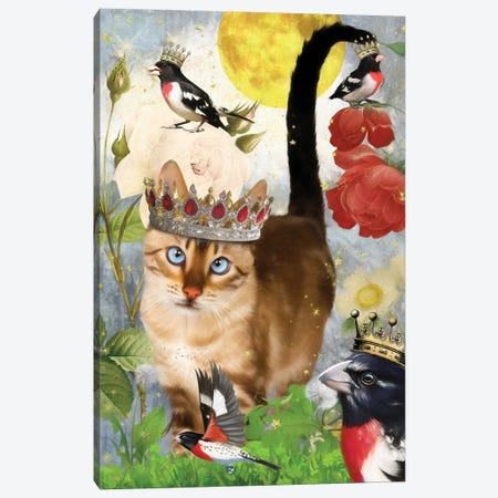 Bengal Cat And Grosbeak Canvas Print #NDG508} by Nobility Dogs Canvas Art Print