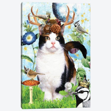 Calico Cat And Titmouse Canvas Print #NDG509} by Nobility Dogs Canvas Print