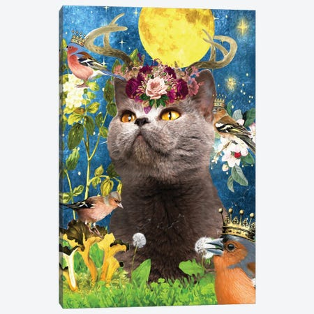 Blue Cat And Chaffinch Canvas Print #NDG510} by Nobility Dogs Canvas Art
