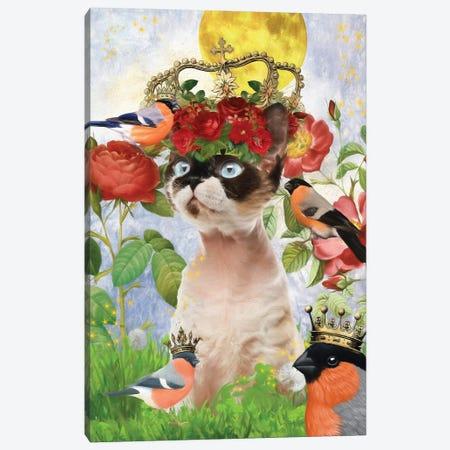 Devon Rex Cat And Bullfinch Canvas Print #NDG511} by Nobility Dogs Canvas Art