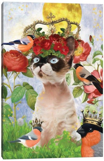 Devon Rex Cat And Bullfinch Canvas Art Print